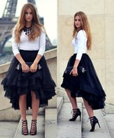 Wholesale 2016 Hilo Summer High Low Woman Tulle Satin Skirt Tiered Solid Natural Color Girl Gown Tutu Skirt Casual Women Short Skirts For Party