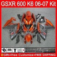 Wholesale Suzuki Gsxr Fairing Orange K6 - 8gifts Bodywork For SUZUKI GSXR 600 06 07 GSX R600 06-07 gloss orange 65NO55 GSXR-600 K6 GSX-R600 GSXR600 2006 2007 Fairing TOP black orange