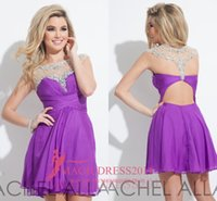 Wholesale Cheap Plus Size Night Dresses - Cheap Short Party Dresses 2016 Purple Red Chiffon Prom Homecoming Dress A-Line Jewel Beaded Collar Occasion Gowns Cocktail Night Club
