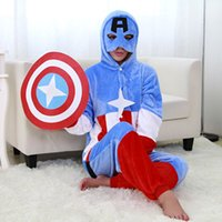 Wholesale Captain America Pajama Cartoon Polyester Nightgown Cosplay Pijama Women Onesie Pyjamas Femme Polar Fleece Pajamas Camisola