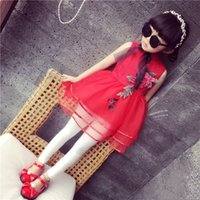 Wholesale Chinese style baby girl cheongsam skirts D rose flower Embroidered girl s tutu skirts children girl wedding dress kids prom dress