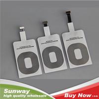achat en gros de qi récepteur sans fil pad de charge-Qi Standard sans fil chargeur récepteur adaptateur chargeur Receptor Pad bobine récepteur pour iPhone 5 5C 5S 6/6 Plus Livraison gratuite