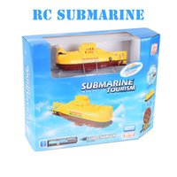 Wholesale Create Toys Mini RC Submarine CH Remote Control Toy With USB Cable Blue Yellow Christmas Children Kids Gift RTR