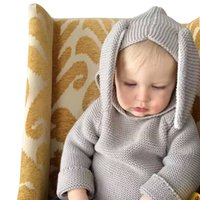 Wholesale Autumn Winter Cute Baby Sweater Rabbit Ears Hooded Knitted Tops Sweater Boys Girls Kids Knitwear Pullovers Children Clothing Gray Khaki