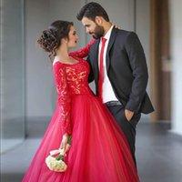 abendkleider ballkleider - High end customization sexy evening romantische Elegante Red Ballkleid Abendkleider scoop Long Sleeve Applique Perlen Tüll Ballkleider
