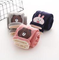 Wholesale Girls print bear cartoon Leggings baby girls cotton tight legging babies fashion cute pants Clothing autumn