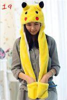 Wholesale Pikachu Cartoon Plush Animal Faux Fur Full Hood Kids Hat Women Children Costume Beanie with Long Scarf Mittens Gloves Earmuffs