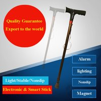 Wholesale Chinese Multifunctional E walking stick for elderly people with lighting and alarming function nonslip magnet therapy safe and nonslip