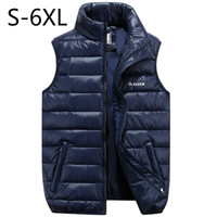 big man clothes - Big Size Men Vest Waistcoat Winter Jacket Down Vests Thicken Warm Coat Sleeveless Cotton Clothes Male Brand Clothing Blue Black