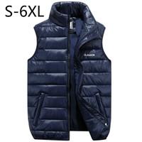 al por mayor hombres chaleco de invierno xl-Los hombres de gran tamaño chaleco abrigo chaqueta de invierno abajo chalecos espesar abrigo caliente sin mangas ropa de algodón masculino marca ropa azul negro