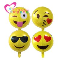 Wholesale 18inch Birthday Party Foil Balloon Cute Emoji Smiley Mylar Balloons for Wedding Decorations Or Opening Ceremony Style in stock