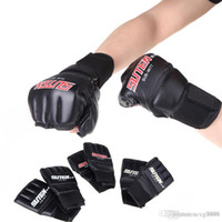 Wholesale PU Leather Half Mitts Mitten MMA Muay Thai Training Punching Sparring Boxing Gloves