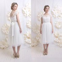 bateau neckline tops - 2016 Vintage Country Wedding Dresses Informal Short Tea Length Lace Top Sheer Bateau Neckline Made to Order Brides Formal Bridal Gowns Cheap