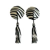 Cheap Wholesale-2014 New Ladies Sexy Zebra Round Shape Stick On Pasties Breast Petals Nipple Covers W  Tassels Clubwear free shipping