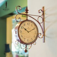 art work digital - Magrace Fashion Rotating Rustic Wrought Iron Double Face Wall Clock Vintage Silent Movement Art Decorative