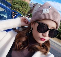 beaded beanie - new students style autumn winter women thickening warm knitting hats beaded wool hats designer tide for women