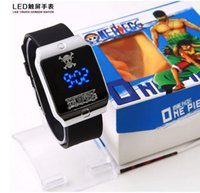 anime merchandise - One Piece anime merchandise skull logo square LED lights optional color touch screen watch