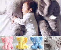 Wholesale 5 color LJJK007 elephant pillow baby doll children sleep pillow birthday gift INS Lumbar Pillow Long Nose Elephant Doll Soft Plush Toys