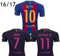 Wholesale 2016 Top Quality men Neymar Jerseys Camiseta de futbol SUAREZ INIESTA PIQUE SOCCER JERSEYS Messi shirts