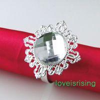 Wholesale 20 colors for U Pick Clear White Gem Diamond Napkin Ring Serviette Holder Wedding Dinner Bridal Shower Favor Decor