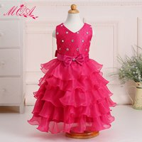 Wholesale 2016 beautiful Lace bow Flower Girl Dresses Baby Girl Birthday Party Christmas Communion Dresses Children Girl Party Dresse