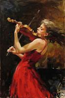 al por mayor cuadros de tamaño personalizado-Enmarcado MUCHACHA HERMOSA PHILHARMÓNICA, pintura al óleo pintada a mano pura del arte del retrato en lona de la calidad en cualquier tamaño de encargo