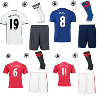 army patches - 16 manchester the full set soccer jersey with socks IBRAHIMOVIC MARTIAL MATA ROONEY football jersey with socks with league patches