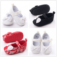 Wholesale Baby Girls Lace First Walkers shoes Lace Toddler shoes Newborn Big Bow Soft Sole Princess Shoes Infant Low Booties Prewalker Shoes