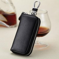 Wholesale High Quality Car Key Wallet Holder Purse Fashion Coin Pouch Genuine Leather Bag Portable Men Car Key Zipper Wallets Housekeeper