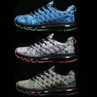 Wholesale pair New Fingertrap Air Max Men s Training Shoes camo blue green grey Weave sneakers plus size US12 US13 Free fast ship
