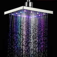 abs showers - Waterfall LED shower head Temperature sensor colors light change square Ceiling rainfall showerhead Bathroom accessories
