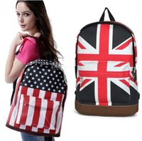 backpack banners - Fashion Flag Backpack American US UK Flag Star Spangled Banner Backpack Shool Bag Canvas School Bags Casual Campus Bag Packbag LJJG441