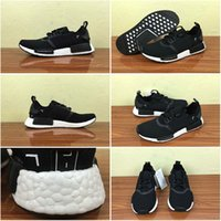 Wholesale Drop Shipping Cheap Famous Originals NMD Primeknit Runner R1 Japan Core Black White Boost S81847 Mens Womens Running Shoes Size