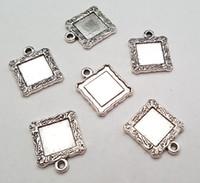 antique frames lot - Stock clear cheap DIY mm Alloy accessories vintage antique silver blank frame charms pendant fit charm bracelet