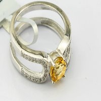 Cheap 2016 new arrival free shipping Fashion personality natural yellow crystal rings with 925 sterling silver natural citrine ring for women