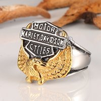 casting jewelry - Harley Men s Stainless Steel jewelry Eagle with quot American Biker quot Engraving Cast silver black Ring size