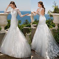 Wholesale Long Sleeve Wedding Dresses Beaded Jewel Summer Beach Wedding Dress Sweep Train Mermaid Backless Bridal Gowns