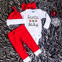 Санта костюмы Цены-New Baby Рождественские наборы Мода Рождество Санта напечатаны буквы ползунки + брюки + повязка + Hat 4шт костюме Новорожденных Bodysuit Набор детской одежды