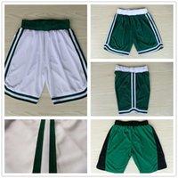 Wholesale Hot Sale Basketball Shorts Green White Embroidery Rev Sports Running Shorts Larry Bird Rajon Rondo Marcus Smart Jae Crowder