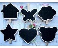 Wholesale US off per US New Cute shape Small Wooden Blackboard Clip Paper Clip board Message Folders Wood Chalkboard peg