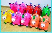 Wholesale children s toys jumping horse Maccabees thick inflatable jumping deer baby music to increase non toxic rubber horse riding