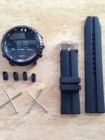 2016 Disponible Los dos lados se adaptan a Suunto Core All Black Silicona Zulu banda táctica Watch Band + Adapters + Tool