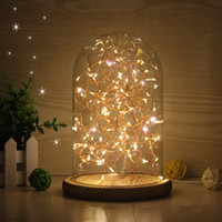 ac personalized - Glass Shade Wooden Vintage Table Lamp Desk Light Bedroom LED Night Light Personalized Creative Birthday Christmas Gift Decor Desk Lamp