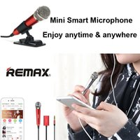 Wholesale Remax K01 Wired Microphone mm Clip Mini Portable Sing Song Karaoke Microphone for iPhone Samsung Smartphone with RetailBox