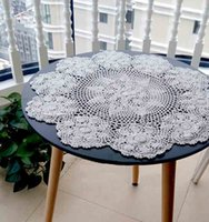 Wholesale Handmade placemats Crochet Tablecloths table mats White Beige cm Round Table Cover Piece