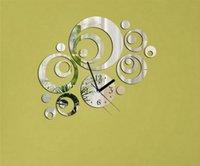 Cheap New DIY Clock Ring Circle Mirror Reflection Acrylic Home Decorative Wall Clock