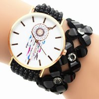 battery circle - 2016 Campanula circle Design wrap Bracelet Watch Flower Crystal leather Watches Quartz wrist watches For women Ladies Fashion Dress watches