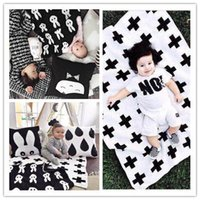 bedspreads black - New Arrival cm baby blanket newborn child cartoon Rabbit blanket Black White Cross Knitted Plaid For Bed Sofa BedSpread flannel MC0274