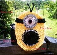 Wholesale Photographer Shutter Buddies Despicable Me Minion Cap Camera Len Animal Hat Crochet Lens Toy Baby Photo Studio Accessories Photography Props