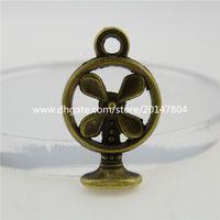 antique electric fans - 12771 Antique Bronze Tone Alloy Mini Electric Fan Charm Pendant Charm